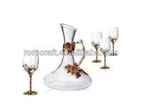 RORO Golden Harvest grape enamel crystal glass wine glass set/wine decanter wine glasses goblet with pewter/metal stem