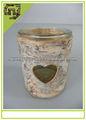 Material Natural artesanato casca de bétula lanterna coração castiçal de vidro