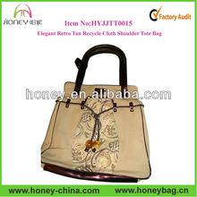 Elegant Retro Tan Cloth Recycle Canvas Promotion Woman Tote Bag