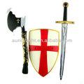 clássico baratos fresco plástico medieval cruzada se realize espadadebrinquedo e escudo para o miúdo para venda feita na china zh0805960