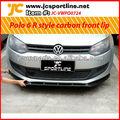 Para cima 2011 vw polo r estilo fibra de carbono lábio pára-choque dianteiro