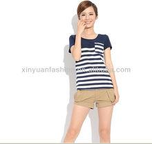2014 Wholesale School girl t-shirt blank striped Korean style t-shirts