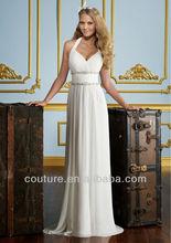 Sheath Elegant Simple Sweetheart Halter White Chiffon Floor Length cwd003 mother of the bride beach wedding dress