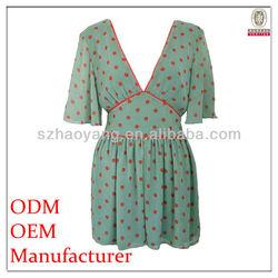latest design deep V neck red polka dot print sexy ladies/women fashion dress