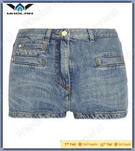 señoras pantalones pantalones vaqueros de la mujer lavado azul sexy pantalones cortos de mezclilla