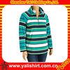 2015 new fashion comfortable stripe fleece fitted womens zipper collar stripe hoodies