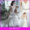 Elegant Alibaba Allover Lace V-neck Vintage Satin Belt Mermaid Wedding Dress 2013