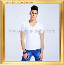 2013 fashion plain cotton t shirt for men vneck white
