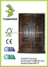 Entry double wood door