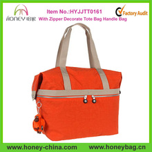 Orange Color With Zipper Decorate Vogue Waterproof Nylon Tote Bag