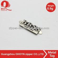 No.215A1101 nickel color metal zinc alloy letter logo wholesale
