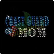 Coast Guard Hotfix Motif Custom Design Heart Mom With American Flag
