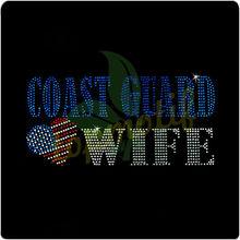 Custom Design Heart Wife Coast Guard Hotfix Transfer With American Flag