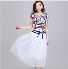 2014 hot sale korean style Sweety Summer Chiffon prom cute floral geometric print Dress