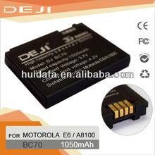 OEM &ODM Mobile phone li ion battery BC70 mobile battery for MOTOROLA E6