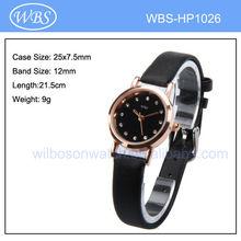 japan movement pc21 quartz diamond watch with leather strap