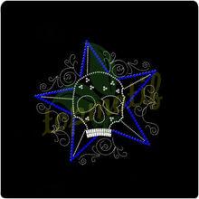 Beautiful Skull with Star hot fix motif,Colorful rhinestone transfer