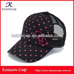 Custom colorful printing dots flat embroidery logo trucker mesh caps/hats