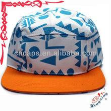 Floppy military flat peak 5 panel pattern hat /cap