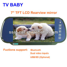 7 inch Rear view mirror lcd monitor support dual video inputs and bluetooth (USB/SD optional)