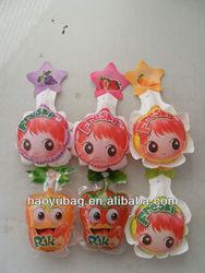 Qingdao customized logo food grade material Pretty ball shape baby face packing juice plastic bag