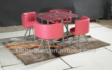 hot sell cheap glass top metal dining table set NQ05/low price dining table with 4 chairs