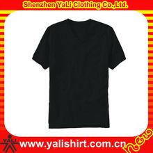 2015 latest fashionable v-neck cotton blank short sleeve plain black t shirts wholesale