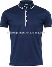 Men's leisure and fashion button down collar navy polo shirt QR-4025