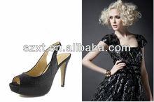 Elegent peep toe shiny sequins high heel slingback sandals shoes for party