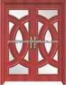 sólida puerta de madera con vidrio