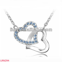 Gorgeous twin heart pendant necklace