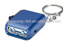 Hot Selling portable mini 2 Led Light Dynamo Keychain