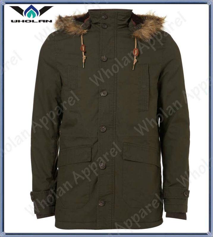 cotton twill man coat, new fashion parka winter jacket with fur collar