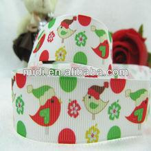 """Best seller new design 7/8"""" Christmas Bird 100% polyester grosgrain printed ribbon"""