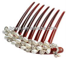 pearl hair comb,pearl rhinestone hair combs,fashion crystal hair accessory
