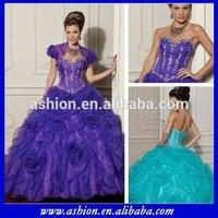 QD-022 Absolutely gorgeous rosettes skirt sweet sixteen dresses quinceanera supplies wholesale