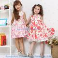 2014 de verano de moda flor de algodón de la fiesta del bebé niñas vestido de diseños