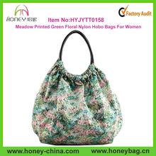 2015 Meadow Printed Green Floral Handbag Purse Women Nylon Hobo Bags