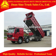 Red 371hp front lifting heavy duty dump truck for pouring out muck