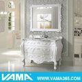 Vama salle de bains en bois massif cabinet autoportante. blanc antique