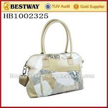 Leather hand bag and cosmetic bag set