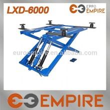 2700kg/6000lb double cylinder hydraulic electric portable mid rise scissor car lift