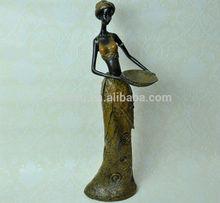 Negro de la muchacha africana escultura de resina de la serie, Decoración de interiores escultura