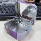 small hinged rectangular tin full colour printed tin box for makeup,makeup tool kits