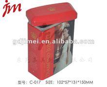 rectangular tea tin can