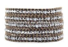 Handmade Bracelet Ideas Silver White Quartz Wrap Bracelet on Natural Grey Leather