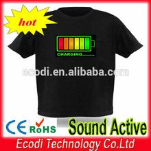 Kids led sound activated t-shirts/EL sound sensor t-shirt/EL T-shirt with multi design