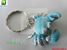 Polyresin personalized crab figurine key chain crafts