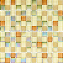 Orange Country Polished Frosted And Iridescent Glass Mosaic Tile