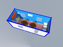 container shop with glass walls